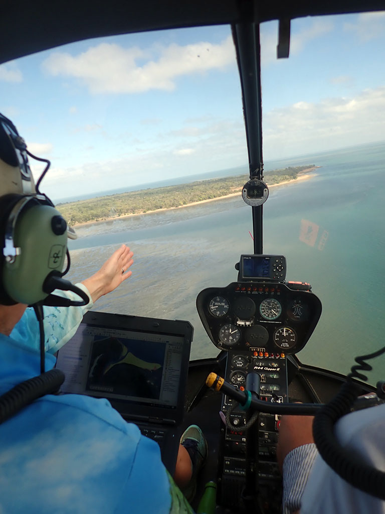 Helicopter in air at Weipa